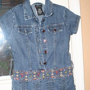 Girls SPEECHLESS denim blue jean shirt dress SZ 8